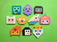 10pc ADVENTURE TIME Inspired Perler Bead Magnet Set (updated) by RainbowMoonShop on Etsy