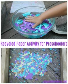 House of Burke: Recycled Paper Activity for Preschoolers – House of Burke – art therapy activities Educational Activities For Kids, Art Therapy Activities, Hands On Activities, Learning Activities, Preschool Activities, Preschool Crafts, Crafts For Kids, Mother Goose Time, Tot School