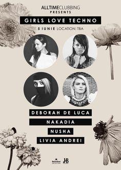 Girls Want Techno - Deborah de Luca, Nakadia, Nusha and Livia Andrei. Techno Music, Parties, World, Youtube, Movie Posters, Fiestas, The World, Fiesta Party, Party