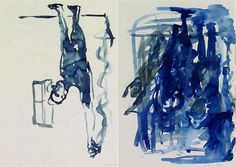 """Georg Baselitz, """"Mann mit gestrecktem Arm"""" (double-sided drawing) - sketchbook 1980, watercolor and pencil on paper, double-sided"""