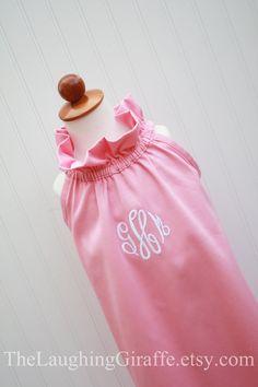 NEW...The Zoe...Girl's Monogrammed Dress, Easter Dress. $46.00, via The Laughing Giraffe Etsy.