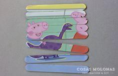 """Manualidades para niños: Puzzle de sus personajes favoritos con """"palitos de helado""""                                                                                                                                                     Más"""