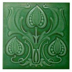 #Valentines #AdoreWe #Zazzle - #Zazzle Antique Art Nouveau Green Majolica Repro Tile - AdoreWe.com