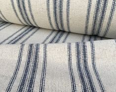 Grain Sack Fabric Sold By The Yard Blue Stripe Vintage Inspired Feed Sack Fabric Flour Sack Fabric Gunny Sack Fabric Grain Sack Reproduction Farmhouse Fabric, Farmhouse Style, Farmhouse Upholstery Fabric, Modern Farmhouse, Upholstery Fabrics, Chair Fabric, Farmhouse Decor, Ticking Fabric, Ticking Stripe