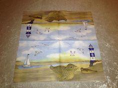 """3 Servietten Napkins """"Lighthouse blue"""" DK1"""