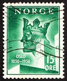 Picture of NORWAY - CIRCA a stamp printed in the Norway shows King Harald Sigurdsson Haardraada, Anniversary of Oslo, circa 1950 stock photo, images and stock photography. Germanic Tribes, Scandinavian Countries, Stamp Printing, Norse Vikings, First Day Covers, Viking Age, Vintage Stamps, Small Art, Stamp Collecting