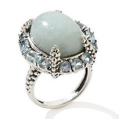 """Jade of Yesteryear Jade and Blue Topaz Sterling Silver Frame """"Claw"""" Ring at HSN.com"""