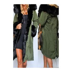 Button Design Army Green Hooded Coat ($67) ❤ liked on Polyvore featuring outerwear, coats, army green, olive coat, single breasted coat, long sleeve coat, hooded coats and long green coat