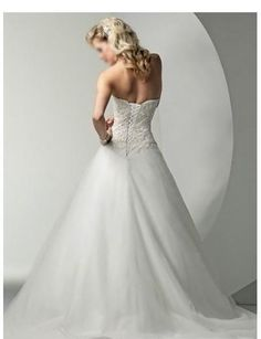 Tulle Strapless Embroidered Ball Gown with Sweep Train Wedding Dress WM-0124