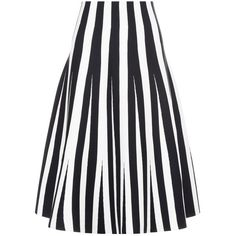 Alexander Wang Black Striped Ponte Flared Skirt found on Polyvore featuring skirts, bottoms, multi, evening skirts, stripe midi skirt, striped skater skirt, ponte skirt and circle skirt