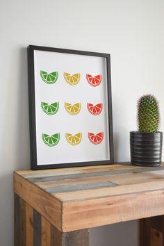 Citrus Print | kitchen decor, lemon wall print, fruit wall decor, lemon digital print, kitchen art