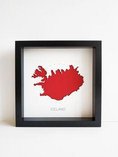 Iceland Home Decor Iceland Wall Art Iceland Art Iceland World Map Wall Art, 3d Wall Art, Map Art, Framed Maps, 3d Laser, Iceland, House Warming, Map Frame, White Frames