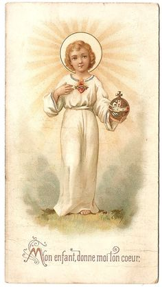 1902 Child Jesus Sacred Heart Antique French by 12StarsVintage