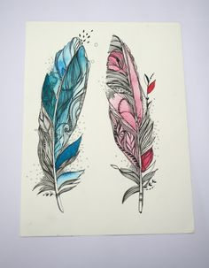 This looks like watercolour and fine liner. I love the colours and it symbolises a male and a female. I love the shape of the feathers. Beautiful attention to detail