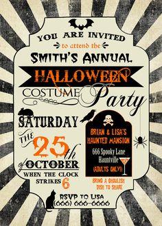 halloween invitation halloween birthday invitation halloween