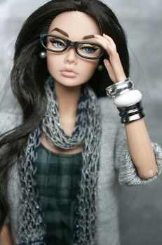 Modern Barbie, glasses, scarves, and bangles....