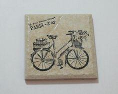 paris bicycle shabby chic trivet by OkioBDesigns on Etsy