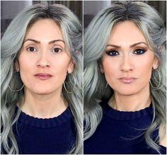 Over 40 Makeup blue eyeshadow blue eyeliner gray hair silver hair brown eyes Grey Hair And Makeup, Makeup Tips For Brown Eyes, Brown Eye Makeup Tutorial, Blue Eye Makeup, Hair Makeup, Gray Hair, Glam Makeup, Eyeliner Brown Eyes, Orange Eyeshadow