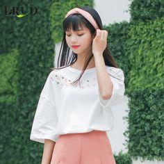 LRUD刺绣t恤女2017夏装韩版女装白色宽松打底衫百搭半袖上衣