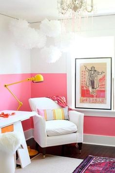 Pink and white color block walls