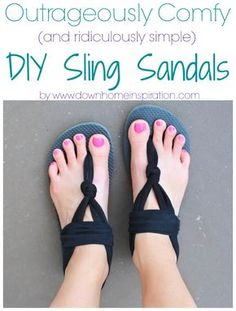 OMG, these are awesome!  And only $2.75 per pair!  Outrageously Comfy (and ridiculously simple) DIY Sling Sandals - Down Home Inspiration
