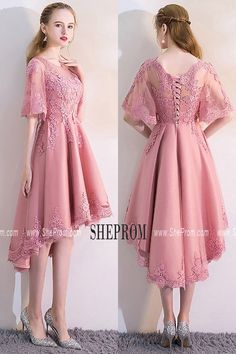 Pink Lace High Low Homecoming Dress with Puffy Sleeves MXL86028 at #SheProm. Shop thousands of dresses range from Homecoming,Party,Graduation,Bridesmaid,Pink,A Line Dresses,Short Dresses,Customizable Dresses and so on. Not only selling formal dresses, more and more trendy dress styles will be updated daily to our store. Shop now to get $10 off! #pinkpartydress