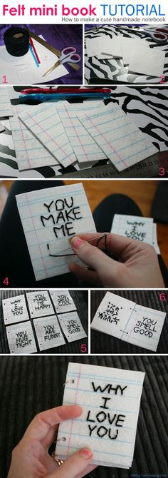 DIY Mini felt notebook - Why I love you. Easy Craft Tutorial for gifts & kids Felt Crafts, Easy Crafts, Diy And Crafts, Paper Crafts, Diy Cadeau, Handmade Notebook, Handmade Books, Ideias Diy, Homemade Valentines