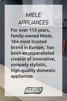 For over 113 years, family-owned Miele, 'the most trusted brand in Europe,' has been an unparalleled creator of innovative, uniquely stylistic, high-quality domestic appliances that are as durable and technologically advanced as they are emotionally evocative. Fashioned with class and pedigree, Miele appliances, including their award-winning coffee systems, dishwashers and cooktops, appeal to and stimulate all the senses. #miele