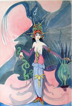 """Plate of """"Le Dejinne"""" costume design by Gladys Spencer Curling in Robes of Thespis: Costume Designs by Modern Artists. Edited for Rupert Mason by George Sheringham and R. Boyd Morrison. London: Ernest Benn Limited, 1928. GT 1741 .M3"""