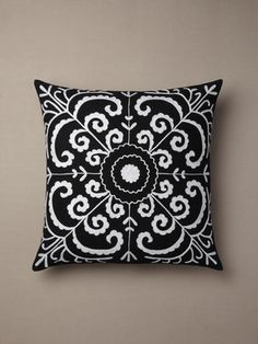 black suzani pillow