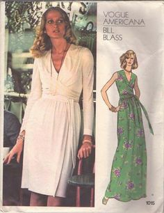 MOMSPatterns Vintage Sewing Patterns - Vogue 1015 Vintage 70's Sewing Pattern DIVINE Americana Designer Bill Blass V Neck Wrap Effect Cocktail Party Dress, Evening Gown, Drape Sash