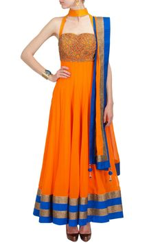 Coral top collar embroidered anarkali