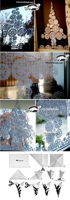Maybe I can do this.............Paper snowflakes fir tree for the window