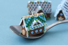 Miniature Gingerbread House Pendant - Blue & Green | Flickr --  Did you notice that little cookie door? How cute!