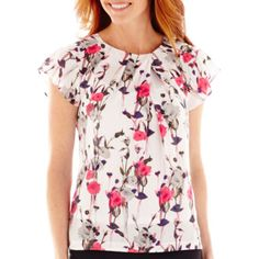 Liz Claiborne® Short-Sleeve Floral Blouse with Cami  found at @JCPenney