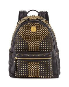 MCM | Stark Special Medium Crystal-Studded Backpack, Black #mcm #crystal-studded #backpack