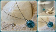Jewel of the Sea - Crackled Glass Necklace - Mermaid Accessory by A2SeaCreations on Etsy