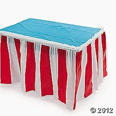 red and white table skirt.  Red & White (4) - giveaway, face painting, hot dog, popcorn. Red - everything else