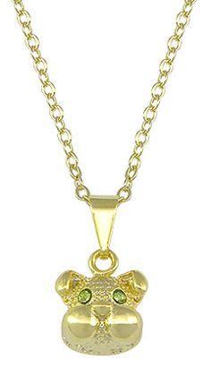 Gargantilha folheada a ouro c/ pingente em forma de cachorrinho c/ strass (cores sortidas)  www.imagemfolheados.com.br/?a=3434