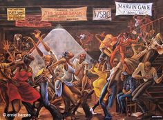 """Sugar shack"" by Ernie barnes is one of my favorite paintings for as long as i could remember. My grandparents had this painting in their house it brings so many pleasant memories i plan to buy this for my first apartment !"