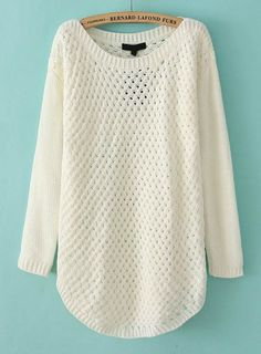 White Long Sleeve Hollow Knit Pullover Sweater