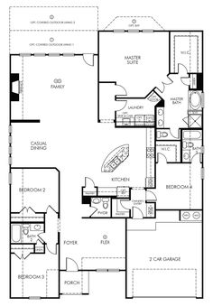 Find a New Home at Canyon Falls House Plans One Story, New House Plans, House Floor Plans, Moving To Texas, Chambord, Sims House, House Layouts, Planer, House Ideas