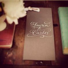Vintage Glam Calligraphy Wedding program Love No. 022 handmade with vintage ribbon. $5.50, via Etsy.