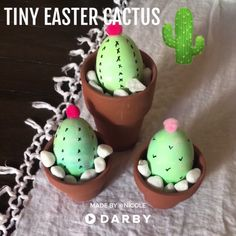 Easy Easter Table Decorating Idea for Cactus Lovers #darbysmart #easter #plantlady #cactus