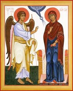 A modern Orthodox icon of the Annunciation painted in the Russian school. This icon represents one of the best schools of modern iconography. Religious Icons, Religious Art, The Annunciation Painting, Angelus, Noli Me Tangere, Church Icon, Roman Church, Paint Icon, Images Of Mary