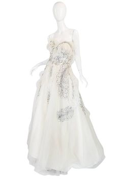 Extraordinary 1960s Feather & Rhinestone Strapless Gown 3