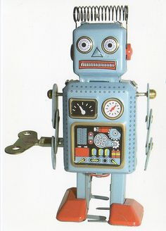 Vintage robot toy to Finland NL-112114 by Gnoe's Postcrossing, via Flickr---This little guy is PERFECT! -Amber