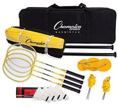 Champion Sports Outdoor Badminton Set: Net, Poles, 4 Rackets Best Badminton Racket, Champion Sports, Handmade Leather Wallet, Rackets, Furnitures, Outdoor, Tops, Outdoors