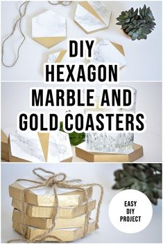 Learn how to make faux-marble and gold coasters using contact paper and gold spray paint. Easy DIY woodworking gift idea #anikasdiylife #contactpaper #diy Scrap Wood Projects, Woodworking Projects That Sell, Diy Woodworking, Gold Coasters, Marble Coasters, Gold Spray Paint, Gold Diy, Contact Paper, Gold Marble