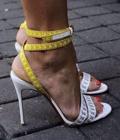 Fashion #measuringtape #stilettos #yellow #white